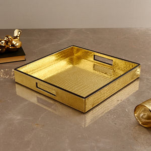 Square Golden & Brown Croco Tray