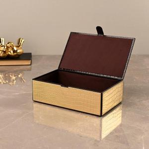Large Golden & Brown Croco Storage Box