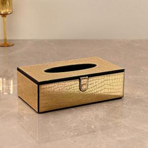 Golden & Brown Croco Tissue Box Cover