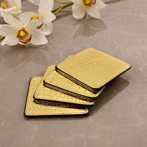 Set of 4: Golden & Brown Coasters