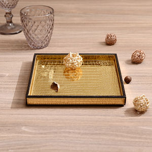 Small Golden & Brown Croco Platter