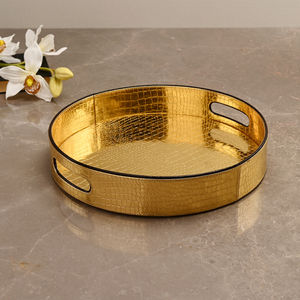 Golden & Brown Croco Round Tray