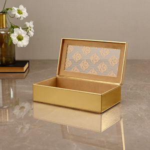 Small Golden Moroccan Motifs Storage Box