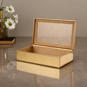 Large Golden Moroccan Motifs Storage Box