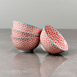 Set of 4: Blue and Red Geometric Print Small Bowl