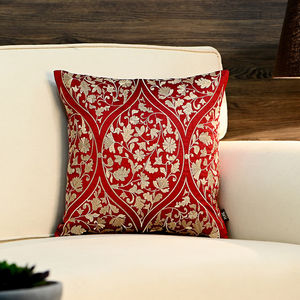 Red and Gold Floral Motif Mughal Cushion Cover