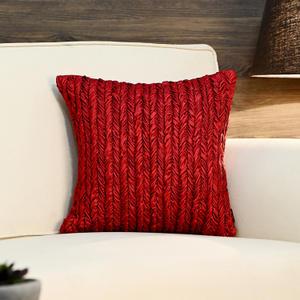 Red Herringbone Pattern Smocked Cushion
