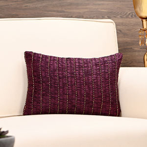 Purple and Gold Smocked Cushion Cover