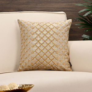 Golden Floral Foil Printed Cushion Cover
