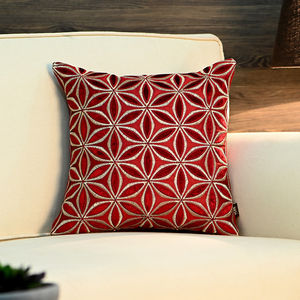 Red and Golden Geometric Floral Cushion Cover