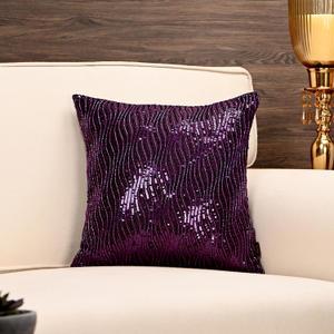 Purple Wavy Shimmer Cushion Cover