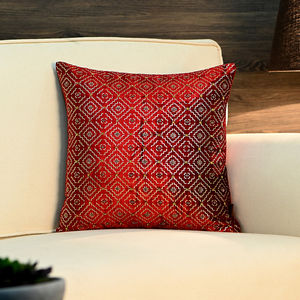 Red Beaded Moroccan Cushion Cover