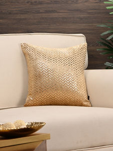 Golden Chevron Foil Printed Cushion Cover