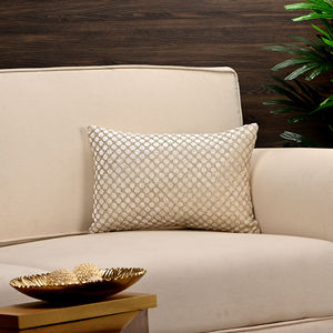 Ivory and Gold Beaded Cushion Cover