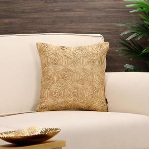 Golden Rosette Cushion Cover