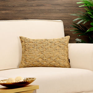 Golden Pin-Tuck Pleated Cushion Cover