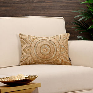 Metallic Floral Embroidered Golden Cushion Cover