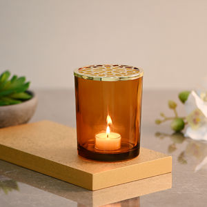 Amber Glass Votive With Decorative Lid