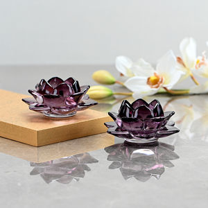 Set of 2 Purple Blooming Lotus Candle Votive
