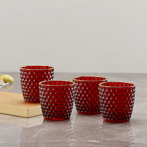 Set of 4 Red Bubble Textured Votive
