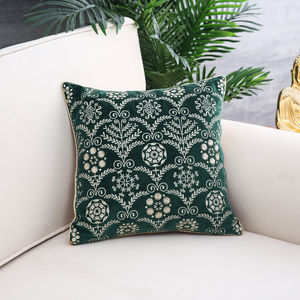 Green Lush Feast Embroidered Cushion Cover