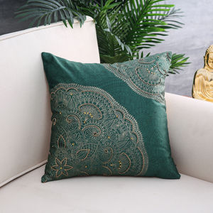 Green Bliss Foil Printed Cushion Cover