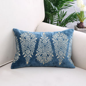 Blue Embroidered Circlet Cushion Cover
