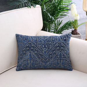 Blue & Gold Quiltted Embroidery Cushion Cover