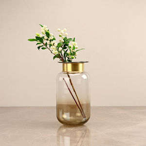 Small Ombre Copper and Clear Vase with Golden Ring