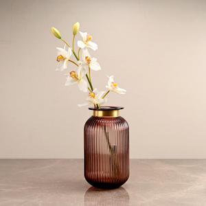 Small Purple Ribbed Flower Vase