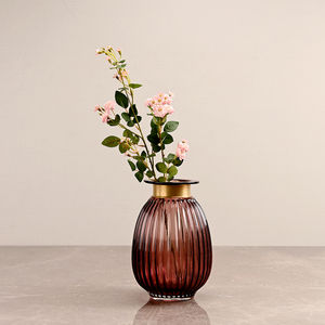 Small Purple Ribbed Oval Vase