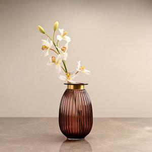 Large Purple Ribbed Oval Vase