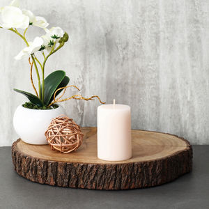 Short Sand Vanilla Pillar Candle