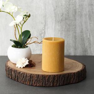 Large Mustard Lemon Eucalyptus Pillar Candle