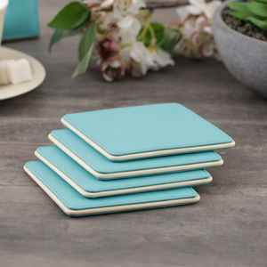 Blue and Cream Set of 4 Coasters