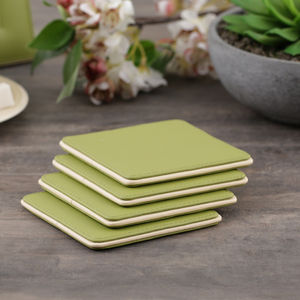 Green and Cream Set of 4 Coasters