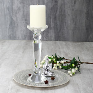 Small Art Deco Crystal Taper Candle Holder