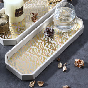 Small Cream And Gold Abstract Tray