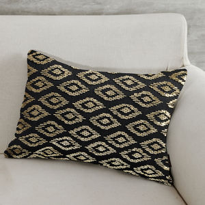 Beaded Diamond Pattern Black Cushion Cover