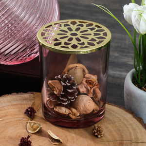 Pink Glass Votive With Decorative Lid