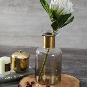 Small Clear Luster Vase With Copper Ring