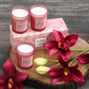 Set Of 3: Pink Cassis & Lemon Blossom Glass Jar Candle