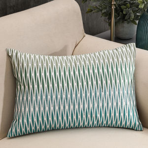 Ombre Blue And Green Embroidered Rhombus Cushion Cover