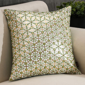 Green Floral Embroidered Printed Cushion Cover