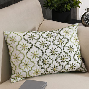 Floral Embroidered Green Cushion Cover