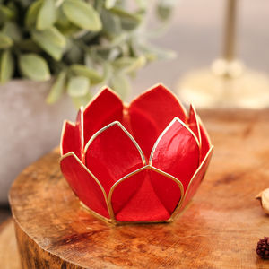 12 Petals Red Tea-Light Holder