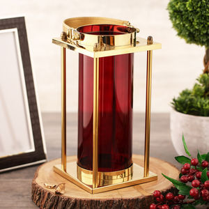 Red Glass Cylindrical Golden Lantern