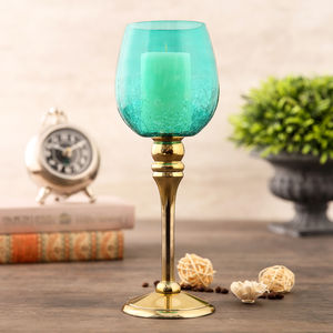 Small Green And Gold Crackle Candle Holder
