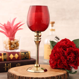 Small Red And Gold Crackle Candle Holder
