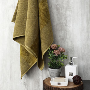 Olive Combed Cotton Bath Towel